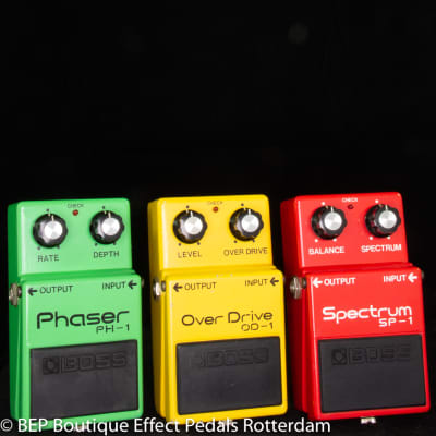 Boss PH-1 Phaser,  OD-1 Overdrive,  SP-1 Spectrum late 70's Japan in 40th Anniversary formation.