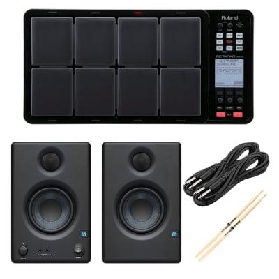 Roland OCTAPAD SPD-30 Black - Presonus ERIS3.5 Monitors - (2) 1/4 Cables - Drum Sticks