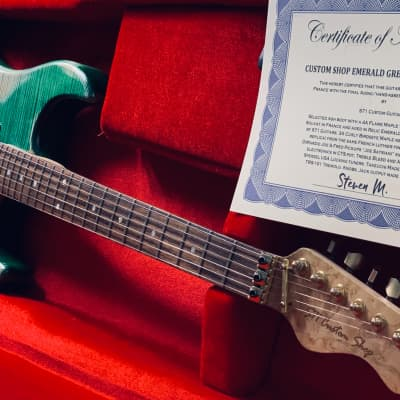 "S71 Custom Shop ""Aged Emerald & Gold SuperStrat"", 4A Flame maple & Birdseye, DiMarzio Pickups."