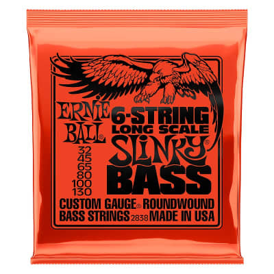 Ernie Ball 2838 6-String Long Scale Slinky Nickel Wound Electric Bass Strings - .032-.130 6-string