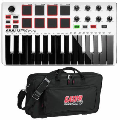 Akai MPK Mini mkII mk2 USB MIDI Compact Keyboard Controller White w Gator Case