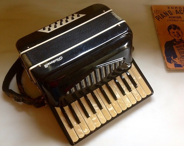 Vintage Crucianelli Italian 12 Button Accordion with Case and Accessories
