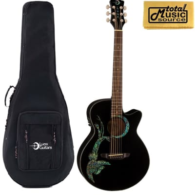 Luna Fauna Phoenix Acoustic/Electric Guitar w/ Case, Black, FAU PHX BLK LL FP for sale