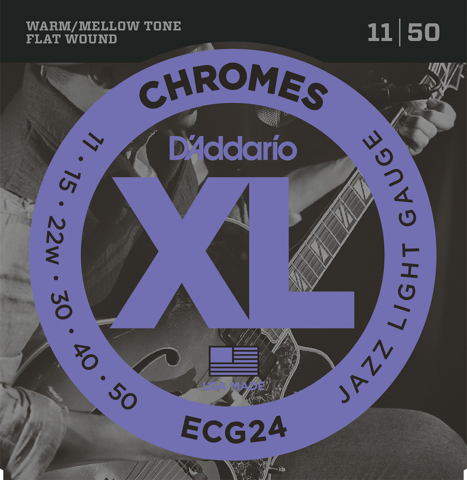 D'Addario ECG24 Chromes Flat Wound Electric Guitar Strings, Jazz Light, 11-50