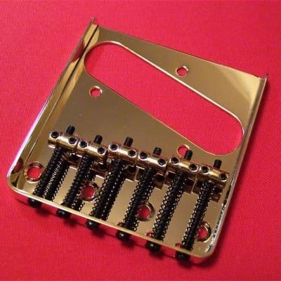 Guitar Parts TELECASTER BRIDGE - Vintage Tele 6 Saddle - Top & Bottom Load - GOLD