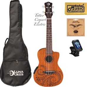 Luna Concert Tattoo Ukulele - UKE TEC MAH - Acoustic/Electric Onboard Preamp,... for sale