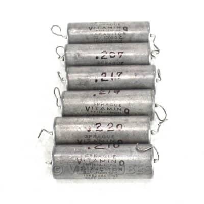 Vintage Lot of 6 Sprague Paper in Oil Vitamin Q Capacitors 0.22 uf 1K 1000 VDC for sale