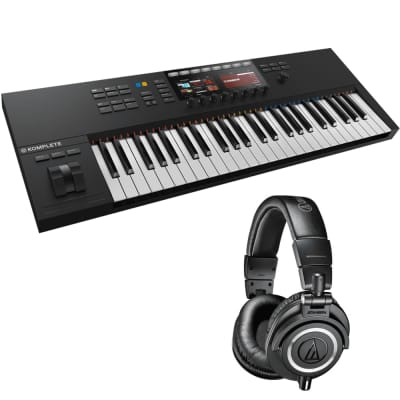 Native Instruments KOMPLETE KONTROL S49 MK2 49-Key Controller for KOMPLETE + Audio-Technica ATH-M50x Monitor Headphones (Black)