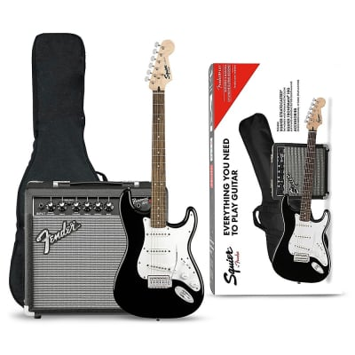 Squier Stratocaster Starter Pack with Indian Laurel Fretboard and Frontman 10G Combo Amp Black