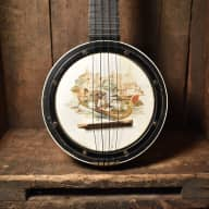 1920's JR Stewart La Venicia Banjo Uke  Black Finish Original Head with Painted Vellum Free Shipping for sale