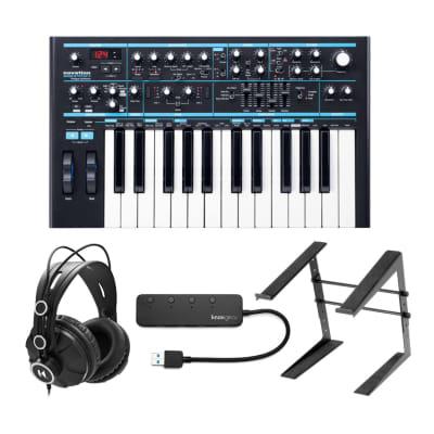 Novation Bass Station II with Headphones and Knox Gear 4-Port USB 3.0 Hub Bundle