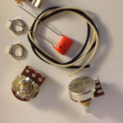 Wiring Harness Kit For P Bass Bourns Knurled Pots NOS .1uf 225P Orange Drop Cap