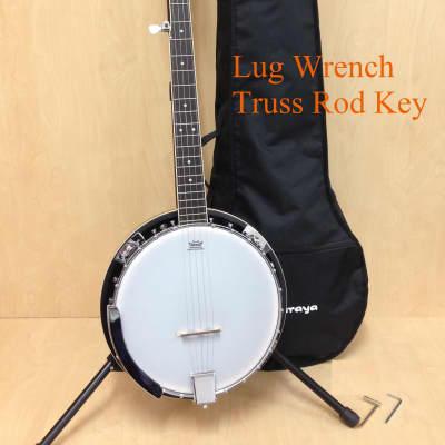 Caraya BJ-005 5-String Banjo w/Mahogany Resonator,Milky Top+Free Gig Bag,Digital tuner,Extra strings,4+1picks,Stand for sale