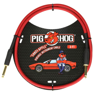"""Pig Hog Vintage Woven Patch Cable, 3-Foot, 7mm, 1/4"""" Straight Connectors, Candy Apple Red (PCH3CA)"""