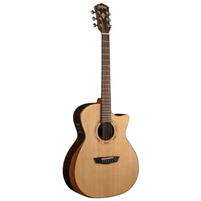 Washburn WCG20SCE-O-U Comfort Series with Arm Rest Solid Spruce Top Acoustic-Electric Guitar - Natur