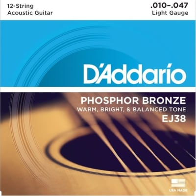 D'Addario EJ38 12-String Phosphor Bronze Acoustic Guitar Strings Light 10-47 image