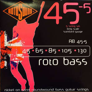 Rotosound RB45-5 Rotobass Long Scale Standard 5-String Bass Strings 45-130