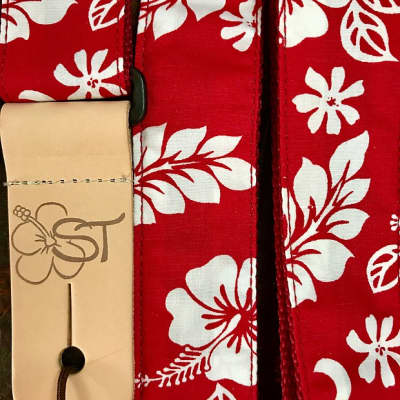 "Sherrin's Threads Red Hibiscus 1.5"" Guitar/Ukulele Strap ST15-737"