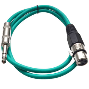 """Seismic Audio SATRXL-F3GREEN XLR Female to 1/4"""" TRS Male Patch Cable - 3'"""