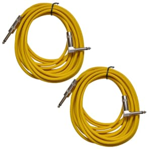 """Seismic Audio SAGC20R-YELLOW-2PACK Straight to Right-Angle 1/4"""" TS Guitar/Instrument Cables - 20"""" (Pair)"""
