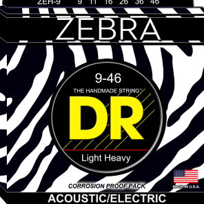 DR ZEH-9 Zebra Acoustic/Electric Guitar Strings - Lite and Heavy (9-46)