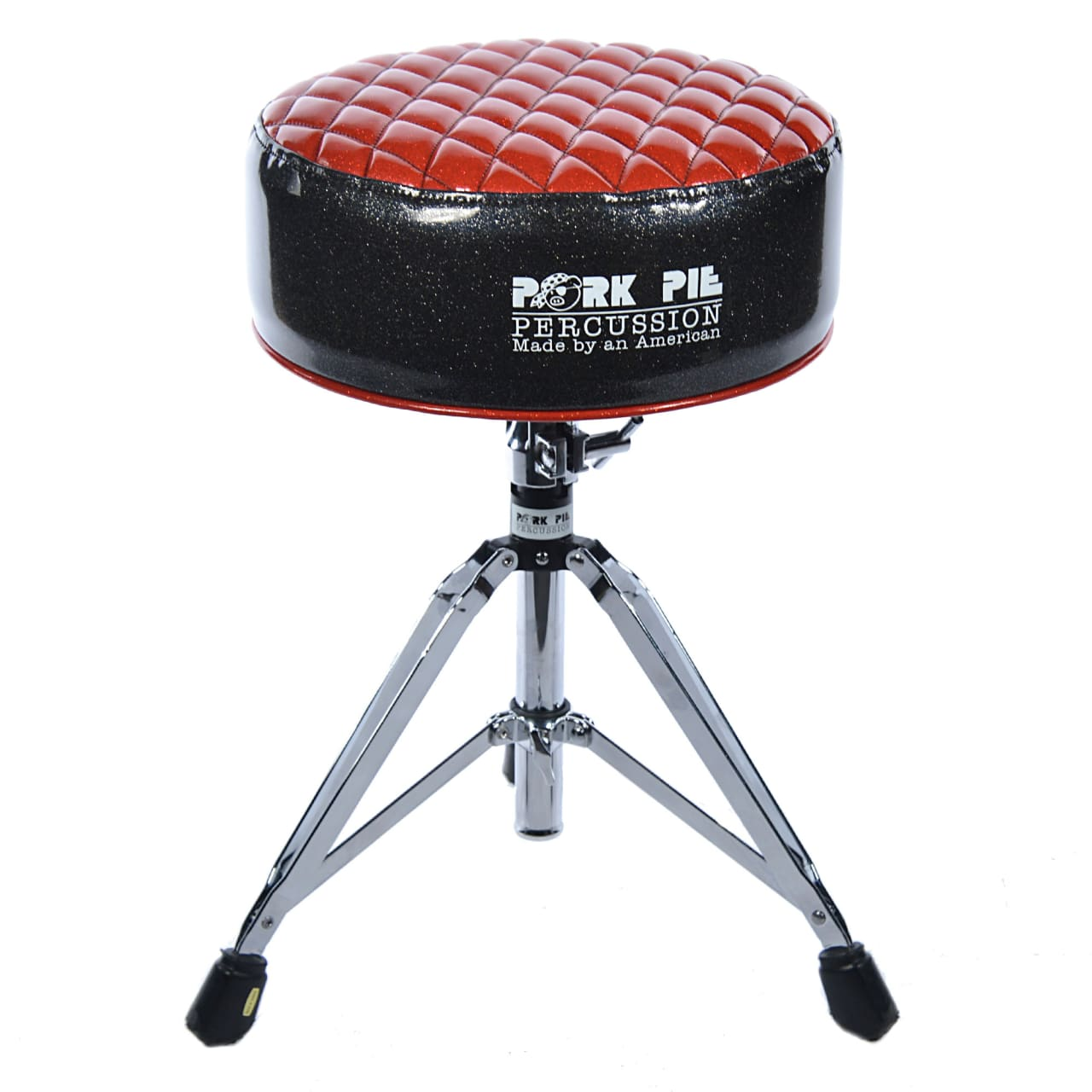 pork pie round deuce drum throne red diamond top black sides reverb. Black Bedroom Furniture Sets. Home Design Ideas
