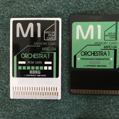 Korg M1 Orchestra 1 and Synth 1 MSC and MPC Cards 1992 White Green and Gold