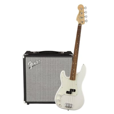 Fender Player Precision Bass Left Hand Polar White Pau Ferro & Fender Rumble 25 Bundle for sale