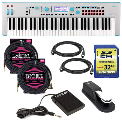Korg KROSS 2 61-Key Synthesizer Workstation (Gray-Blue), Sustain Pedal, Nektar NP-1, (2) ErnieBall 1/4 Cables, (2) Midi Cables, 32GB SD Card Bundle