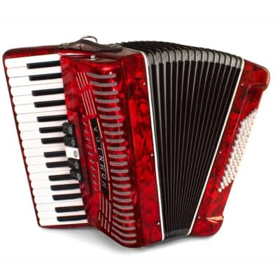 Hohner 1305-RED 72 Bass Piano Accordion Pearl Red