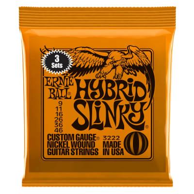 Ernie Ball 3222 Hybrid Slinky Nickel Wound Electric Guitar Strings 3 Pack - 9-46 Gauge for sale