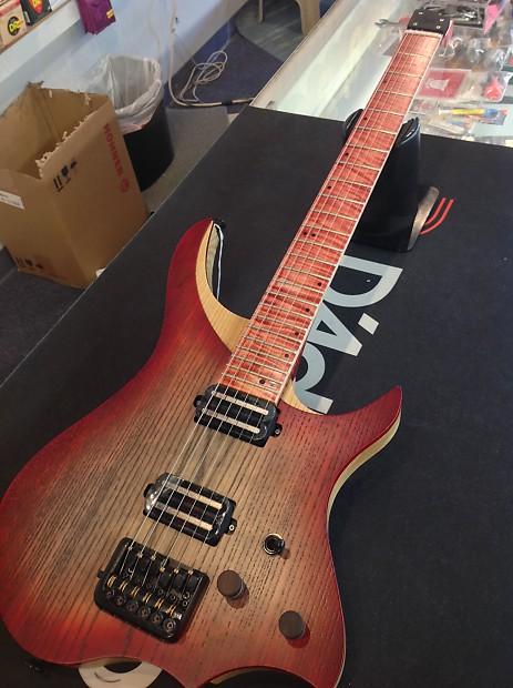 Nk 01 Headless Flame Red Electric Guitar W Bag Reverb