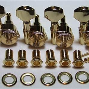 Guitar Parts Thumbwheel Lock - LOCKING - 6 In Line - TUNERS SET - Gold
