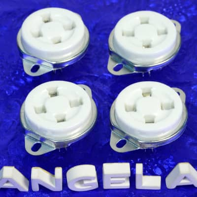 Four Pieces 4 Pin White Ceramic Top Chassis Mount Tube Sockets For 300B, 2A3, 6A3, 5Z3, #47279X4