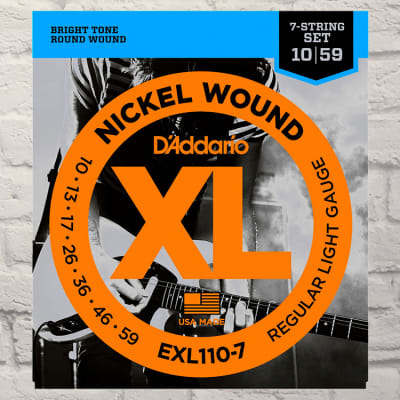 D'Addario EXL110-7 Reg Lite 7-String Nickel Wound Electric Guitar  Strings 10-59