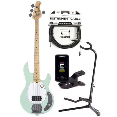 Sterling by Music Man S.U.B. Series StingRay Mint Green w/Guitar Stand, Tuner and 10' Cable Bundle