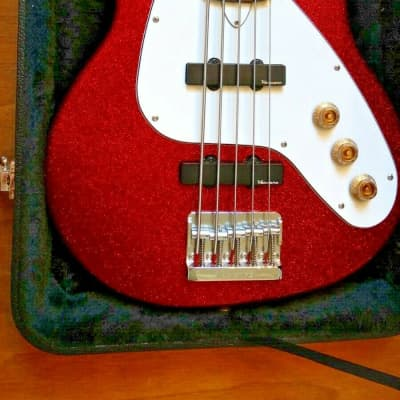 Vaccaro X-Ray V2 5 String Bass Red Sparkle for sale