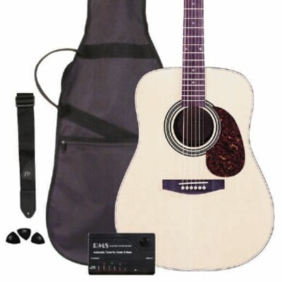 JB Player Acoustic Works Guitar Package with Gig Bag, Strap, Tuner and Picks