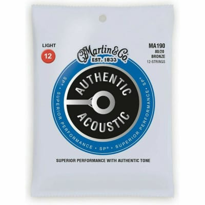 Martin MA190 Authentic Acoustic 12 string 80/20 Bronze Guitar Strings