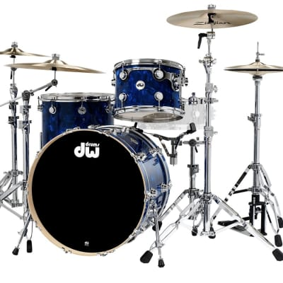 """DW Drums SSC Collector's Series 3-Piece Finish Ply Shell Pack with Chrome Hardware Blue Moonstone 13x9"""",  16x16"""",  22x14"""","""