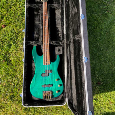 Vintage Valley Arts California Pro P/J Electric Bass Guitar - Turquoise Green for sale