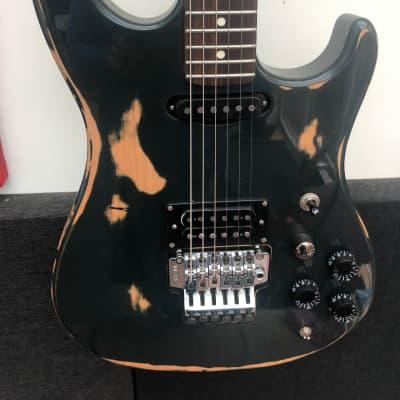 Bill Lawrence HSS Super Strat 1980s Epic Guitar Fender Beater Heavy Relic 1980s Dark Green MIJ for sale
