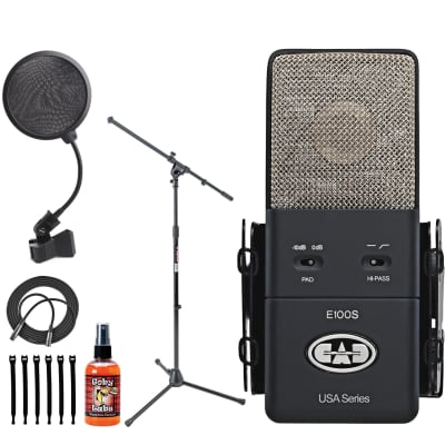 CAD Audio Equitek E100S Supercardioid Condenser Microphone + Mic Stand, Cable, Ties + Pop Filter