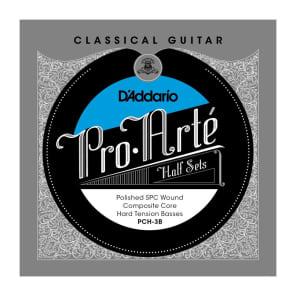 D'Addario PCH-3B Pro-Arte Semi-Polished Silver Plated Copper on Composite Core Classical Guitar Half Set Hard Tension