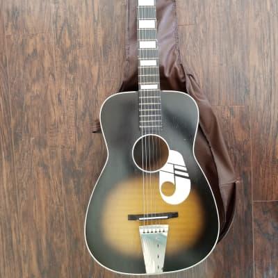 1950s Kay Parlor Music Note Guitar w/ Original Gig Bag, Small Body Sunburst Acoustic