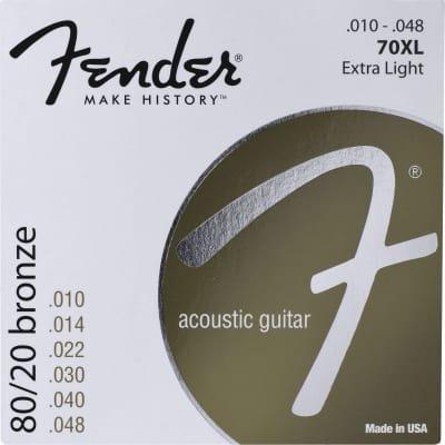 "Fender 730070402 70XL 80/20 Bronze Extra Light Acoustic Guitar Strings Set, .010""-.048"""