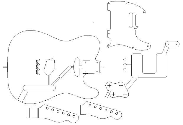 Fender \'52 Telecaster routing template. Vinyl body | Reverb