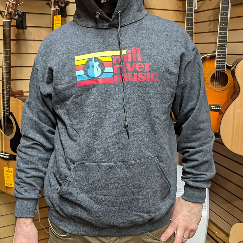 Mill River Music Pullover Hoodie 1st Edition Main Logo Unisex Ch Heather Medium