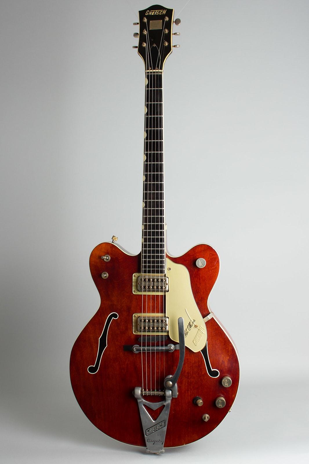 Gretsch  Model 6120 Chet Atkins Nashville Thinline Hollow Body Electric Guitar (1965), ser. #80899, original white tolex hard shell case.
