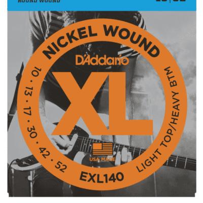 D'Addario EXL140 Nickel Wound Light Top/Heavy Bottom Electric Strings 10-52